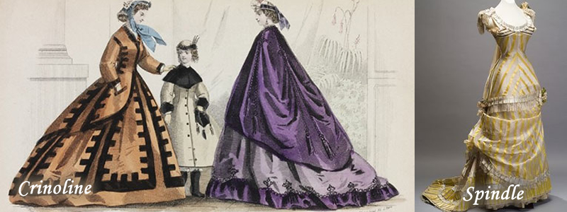 crinoline dress verses the spindle as introduced by Pauline von Metternich