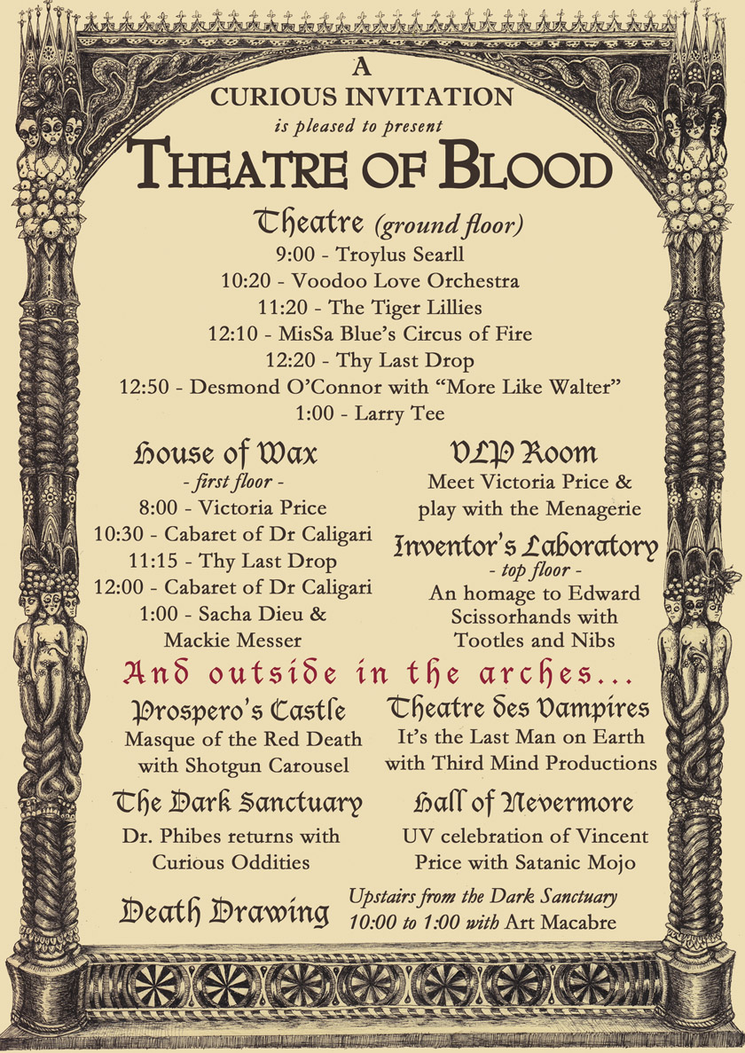 Schedule for Theatre of Blood