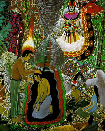 painting of an ayahuasca halucinagenic trip